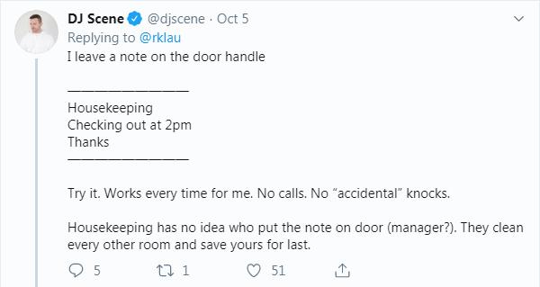 hotel room hack leave a note on door handle