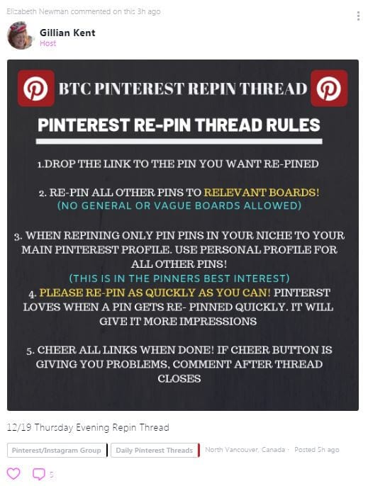 Read and follow Bloggers Traffic Community re-pin thread rules