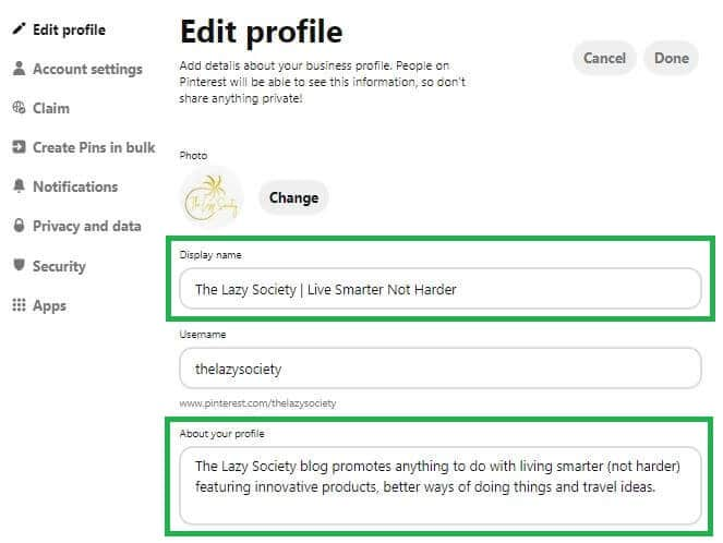Use keywords in Profile Name and Bio when editing your Pinterest profile